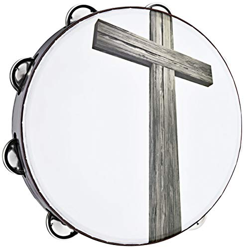 Meinl Percussion Gospel Praise & Worship Church Tambourine Steel Made in China-Durable Composite Frame, Image, Cross, Single Row Jingles (CHT1C)