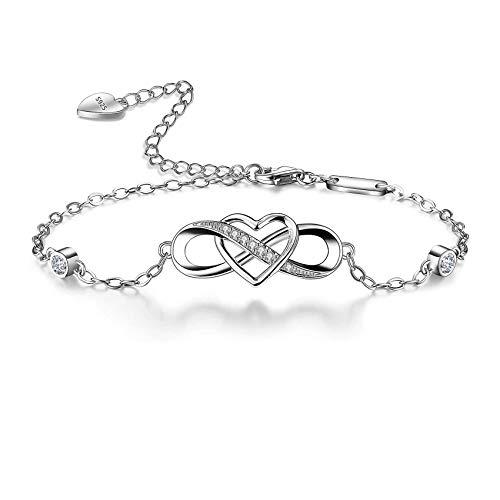 Bo&Pao Infinity Armband Damen 925 Sterling Silber mit Unendlichkeitszeichen und Herz Zirkonia