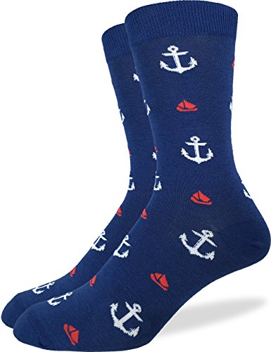 Good Luck Sock Men's Anchors & Boats Crew Socks,Large (Shoe size 7-12),Navy Blue