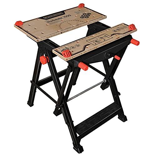 Black+Decker Workmate (Spanntisch und freistehende Werkbank in einem, Stahlkonstruktion bis 250 kg belastbar, Arbeitsplatte aus stabilem Bambus, einhändig bedienbar, verstellbar) WM1000