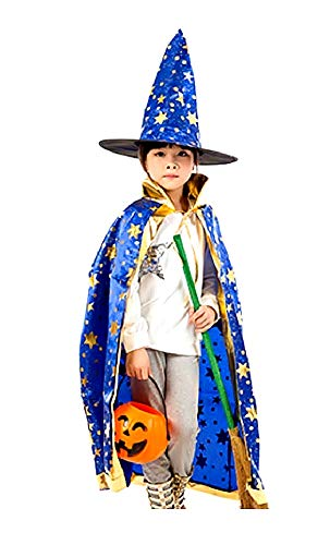 Blauw - mantel - heksenhoed - heks - goochelaar - tovenaar voor kinderen - kostuum - vermomming - accessoires - carnaval - halloween - versierde gouden sterren - idee verjaardag kerstcadeau cosplay