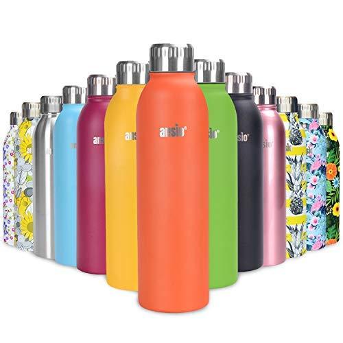 ANSIO Botella Agua Acero Inoxidable, Termo con Islamiento de Vacío de Doble Pared Libre BPA Caliente y fría Reutilizable Botella Agua para Niños, Colegio, Sport, Bicicleta - 500ML -Naranja indignante