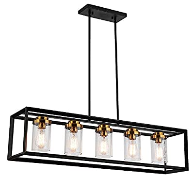 """Berliget Black and Gold Farmhouse Dining Room Linear Chandelier, 39"""" Seeded Glass Rectangular Cage Industrial Kitchen Island Pendant Light Fixture Hanging Lighting for Dining Room Foyer Living Room"""