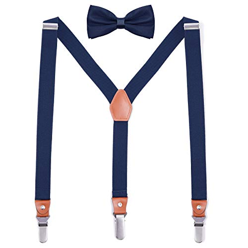 DOVAVA Unisex Hosenträger Herren Damen mit Fliege Set in Y Form Style mit 3 Starken Metall Clip Längeverstellbar 155-185 Körperhöhe In Geschenkbox (Blau)