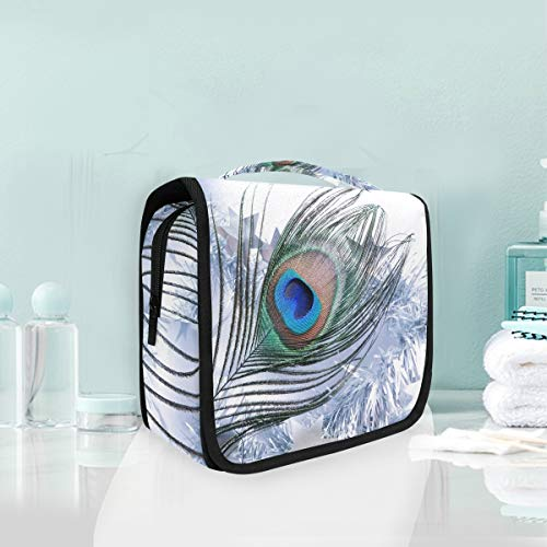 Makeup Cosmetic Bag Peacock Feather Art Merry Christmas Portable Storage Travel Toiletry Bag