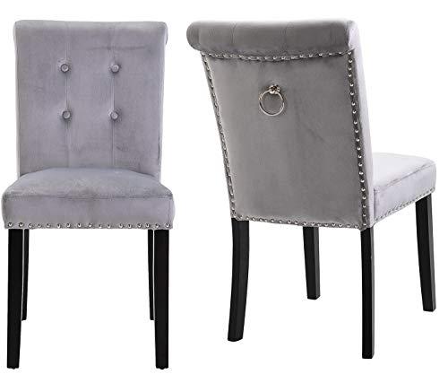 KEEPREAPER 2er Set Grau Samt Esszimmerstühle mit Ring Küchenstuhl Polsterstuhl mit Rückenlehne Holzbeine (2 X Grau)