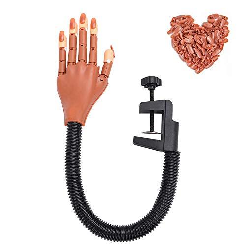 Praxis Hand für Acryl-Nägel Nagel Trainings-Praxis Hand Flexible Einstellbare falsche falsche Hände für DIY Nagel-Display mit 100 PC-Nagel-Spitzen Besten Maniküre Print-Praxis-Werkzeug