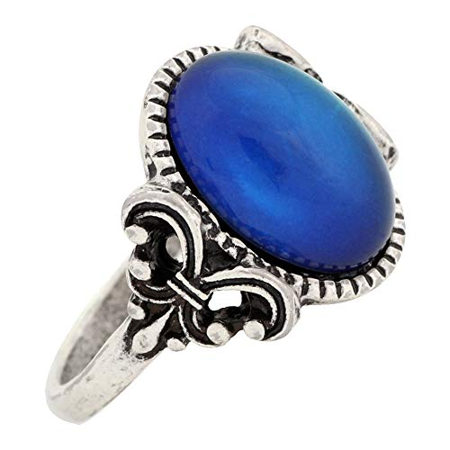 MOJO JEWELRY Gothic Flower Pattern Antique Sterling Silver Plating Oval Stone Color Change Mood Ring MJ-RS008 (7)