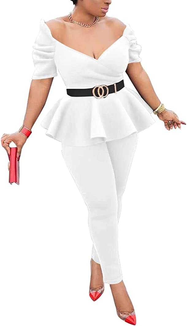 Womens Sale Special Price Sexy 2 Piece Business Outfits V Sleeve Ruffle Neck Short Super-cheap
