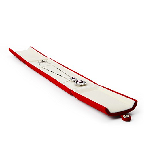 Oirlv Red Velvet Caja de Embalaje de joyería Doble Abierta Anillo Pendiente Colgante Collar Pulsera Almacenamiento Caja de Regalo Caja de Regalo de joyería (Caja de Cadena de Collar Largo)