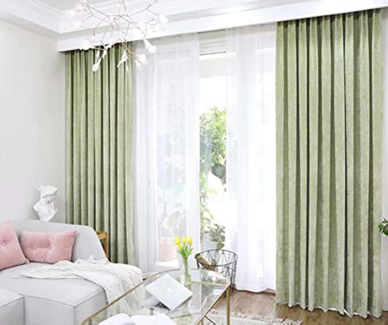 LZFFHTD Europische Samt Chenille Verdickung schwarzout Wohnzimmer Schlafzimmer Vorhang 140 cm x 245 cm (Breite x Hhe) 2 Stück grün