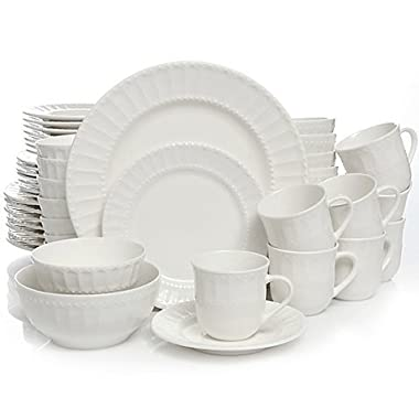 Heritage Place 48-Piece Dinnerware Set comes with scalloped and beaded design on crisp white porcelain