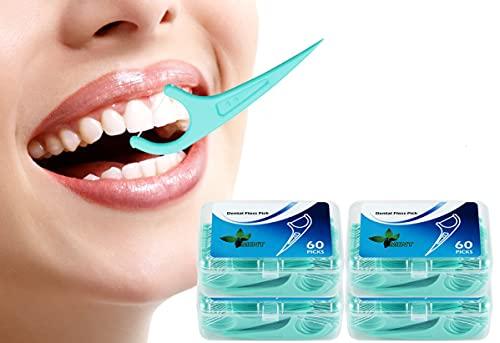 Hilo Dental 240 Piezas, Palillos de Hilo Dental Plástico, Hilo Dental Menta Fresca para Interdental Oral Limpieza - Floss Sticks - 60pcs / Paquete