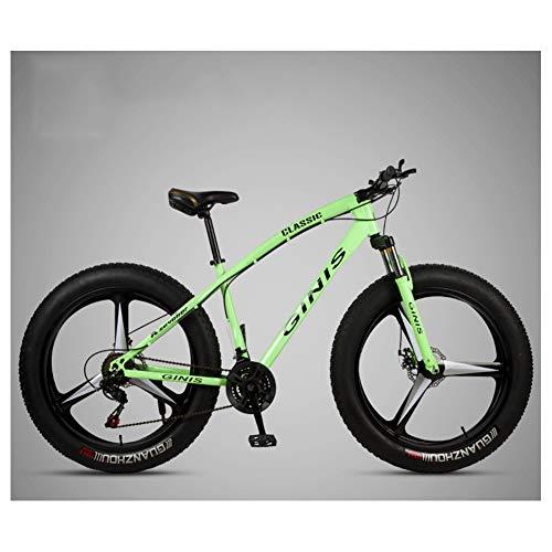 NENGGE Adulto Bicicleta Montaña 26 Pulgadas Neumático Gordo, Profesional Hard Tail MTB para Hombre Mujer, Doble Freno Disco Bicicleta BTT, Doble Suspensión Ciclismo,3 Spoke Green,24 Speed