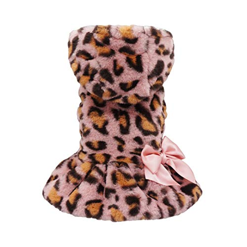 Fitwarm Fluffy Faux Fur Leopard Dog Coats Pet Jackets Cat Winter Clothes Hoodies Pink XS