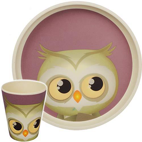 alles-meine.de GmbH 2 TLG. Set - Bambus - Geschirrset - lustige Eule - BPA frei - Bambusgeschirr - Trinktasse + Teller - Spülmaschinenfest - Kindergeschirr - Bamboo Frühstücksset..