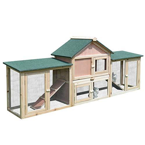 Pawhut Conejera de Exterior Grande Gallinero Pajarera Granja Casa para Animales Pequeños...