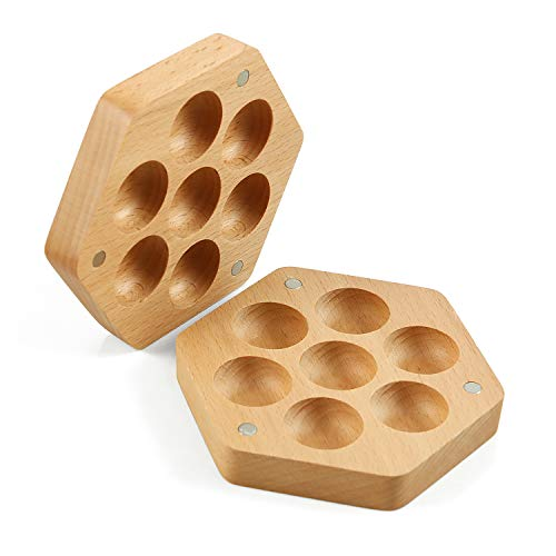 Wooden Dice Storage Box (Magnetic Lid) for 16mm Polyhedral DND Dice Set