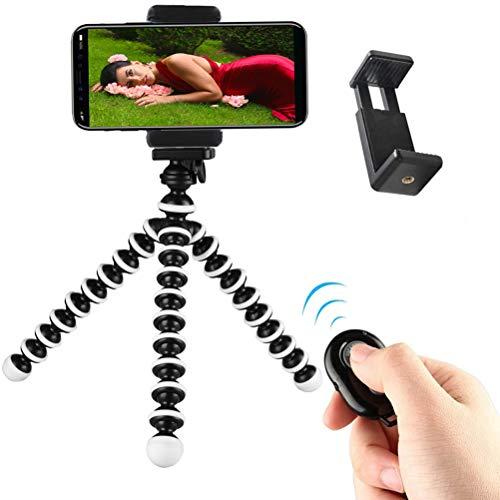 Handy Stativ Kamera Stativ iPhone Stativ Flexibel Mini Selfie Stick Stativ Ständer Dreibein Stativ Halter mit Handy Halterung und Bluetooth Fernbedienung für Kamera, iPhone, Samsung Galaxy