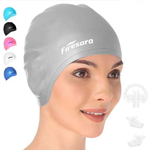 Swim Cap, Firesara Original Updated Swimming Cap 3D Ergonomic Design Comfortable Durable Ear Protection for Women Kids Adults Men Boys Girls for Long or short Hair with Nose Clip and Ear Plugs(Silver)