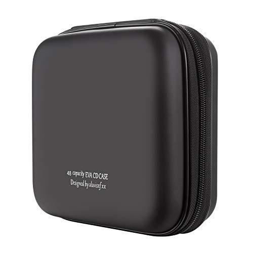 alavisxf xx CD Case, 48 Capacity EVA Protective Blu-ray DVD Case Portable Zipper CD Case Holder Disc Storage Organizer Wallet Bag for Car Home Travel (48 Capacity, Black48)