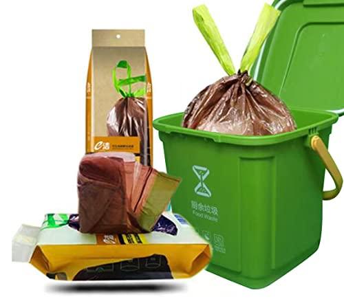Bolsas basura compostable orgánica 10L Liners Bolsas para residuos de Cocina con asa - 100% compostable y biodegradable - 30 piezas.Bolsa Basura Alimentos Cocina para su basura orgánica y compost.