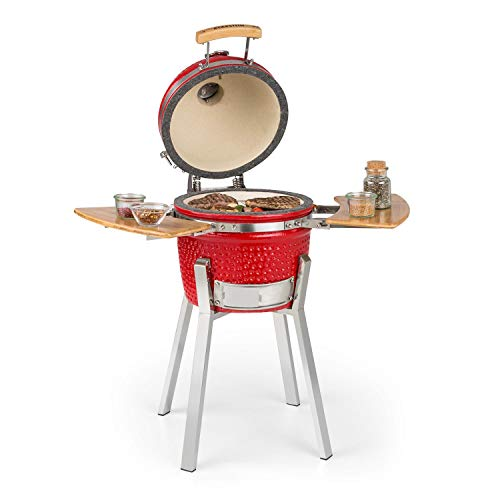 """Klarstein Princesize Pro Kamado - Grill Ceramic Grill, Smoker BBQ, Diameter: 13"""" (33cm), Stainless Steel Grill Grate, for Grilling, Slow Cooking, Smoking or Baking, Ceramic Insert - Red"""