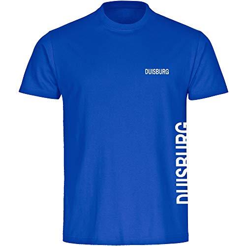 Multifanshop Herren T-Shirt Duisburg seitlich - Schriftzug auf der Brust und auf der Seite - blau - Größe S bis 5XL - Fußball Fanartikel Fanshop,Farbe:blau,Größe:XXXXL