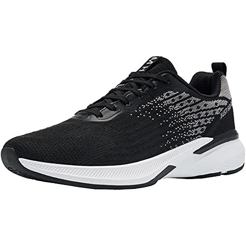 MHXDU Zapatillas de Running para Zapatos Deportivos Mujer Calzado para Caminar de Malla Ligero Transpirable para Ocio Gimnasio Calzado para Entrenamiento(39 En Blanco y Negro)