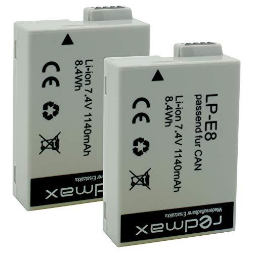 2X redmax Akku Canon LP-E8 / 1140mAh für Canon EOS 550D 600D 650D 700D / Rebel T2i T3i T4i T5i / Kiss X4 X5