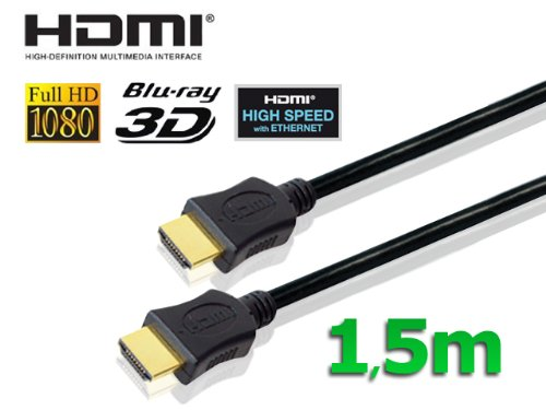 conecto HDMI Kabel HIGH SPEED mit Ethernet (vergoldete Stecker, 4K, Ultra-HD, Full HD 1080p, 3D) 1,5m schwarz