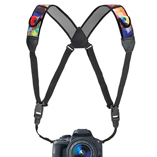 USA Gear DSLR Camera Strap Chest Harness with Quick Release Buckles, Geometric Neoprene Pattern and Accessory Pockets - Compatible with Canon, Nikon, Sony and More Point and Shoot, Mirrorless Cameras