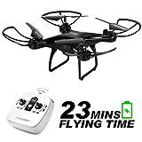 Allcaca RC Drone RC Quadcopter 23 ደቂቃዎች ረጅም ባትሪ የ LED ብርሃን, 3D መመለሻ ራስ-ማይታዊ ሁነታ አንድ ቁልፍ ጅማሬ ማረፊያ ሶስት የፍጥነት ሁነታ ለጀማሪ, ጥቁር