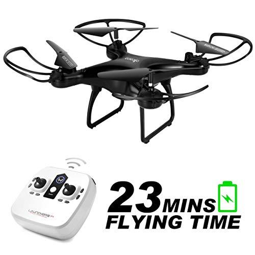 allcaca RC Drone à Distance Quadcopter Telecommande 4CH 23min de Temps de vol Les Enfants Débutant, Mode sans tête Retour à Un Bouton Flip 3D Lumière LED, Noir