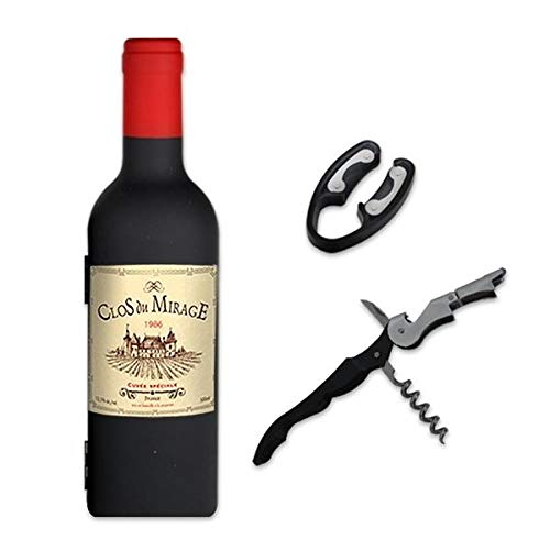 Eurrowebb - Estuche con somelier en forma de botella de vino