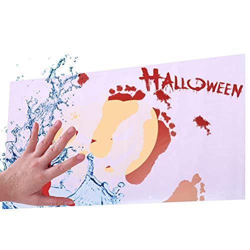 J-ouuo Blutige Badematte, Farbwechsel, rot, wenn nass, trocknet weiß, Horrorblutige Fußabdrücke, Badematte, Fußmatte, spannende Duschmatte für Dusche und Badezimmer