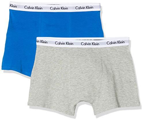 Calvin Klein Jungen 2PK TRUNKS Boxershorts, Grau (1GreyHeather/1PrincessBlue 0IW), 128 (Herstellergröße: 8-10) (2er Pack)