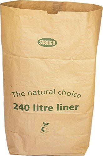 Alina, kompostierbare Abfalltüte aus Papier, für 240-l-Mülltonnen oder im Garten, vollständig biologisch abbaubar, 240 Liter, braun, 8 sacks