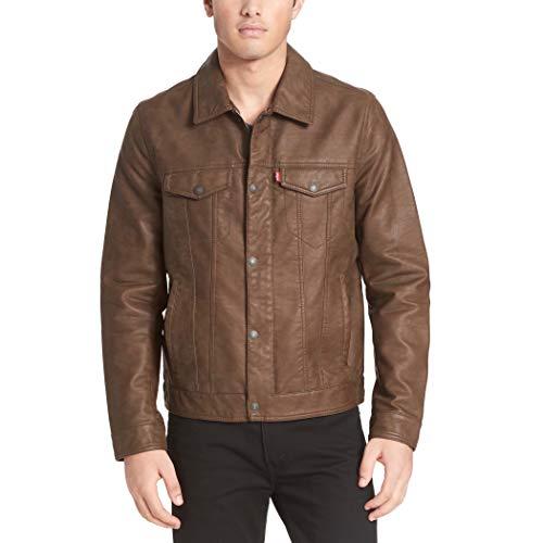 Levi's Men's Faux Leather Classic Trucker Jacket, Buffed Cow Eart, Medium