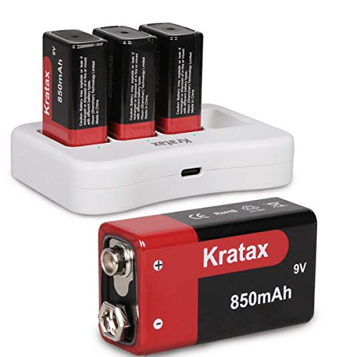 9v Rechargeable Battery and Charger Kratax 850mAh High Capacity Li-ion Batteries with Charger, for Smoke Alarms, Guitar, Cameras, Walkie Talkies, Toy Remotes, Microphones(4pcs Batteries + Charger)
