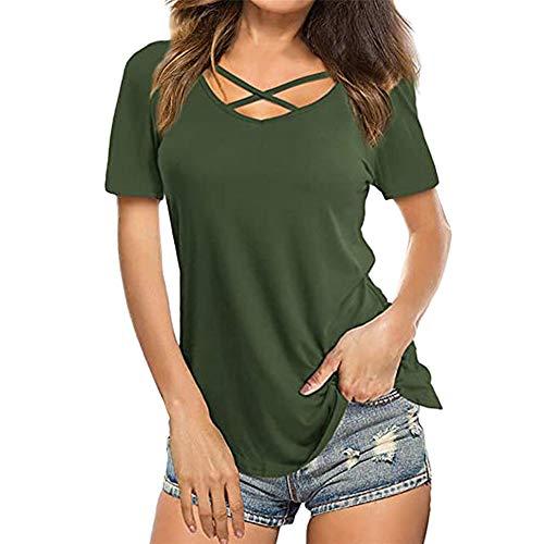 PRJN Camisetas Deportivas para Mujer Camiseta Deportiva de Manga Corta para Gimnasio Camiseta Superior con Detalle de Correa Cruzada para Mujer Camiseta con Tirantes de Verano para Mujer Camisetas