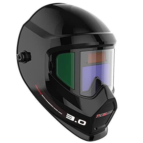 TEKWARE Anti Fog Up True Color Solar Powered Auto Darkening Welding Helmet with SIDE...