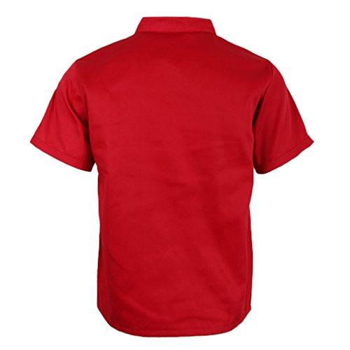 P Prettyia Atmungsaktive Kurzarm Kochjacke Backjacke Kochkleidung Koch Gastronomie Berufsbekleidung Arbeitskleidung für Restaurant Gastronomie – Rot, 2XL - 2