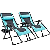 AVAWING Oversized XL Zero Gravity Chair, Outdoor Adjustable Padded Folding Recliner, Wider Seat Folding Lounge Portable Lawn Chair w/Pillow and Cup Holder,Support 400lbs 2PCS, Blue&Black