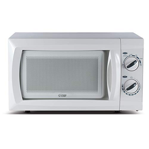 Commercial Chef Counter Top Rotary Microwave Oven 0.6 Cubic Feet, 600 Watt, White, CHM660W (Renewed)