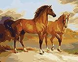 Toudorp Kit de pintura de bricolaje por números, pintura de animales coloridos por números sobre lienzo, pintura acrílica de bricolaje de 16 x 20 pulgadas, patrón de caballos sin marco