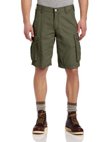 Carhartt Herren-Hose, Kurze Cargohose, 28cm, lockere Passform, robust, W34, Armee-grün, 1