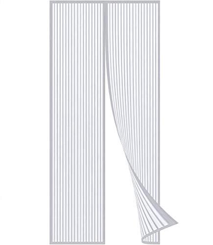 Flei Mosquitera Puerta Magnetica 240x205cm, Cortina Mosquitera para Puertas, Cerrado automáticamente Plegable Cortina Ultrafina para Pasillos/Puertas - Blanco