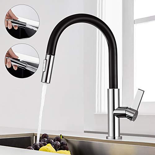 BONADE Ausziehbar Küchenarmatur Hochdruck Wasserhahn Küche Schwarze Spültischarmatur 360° Schwenkbar Einhandmischer mit Brause Einhebel Mischbatterie mit 2 Strahlarten