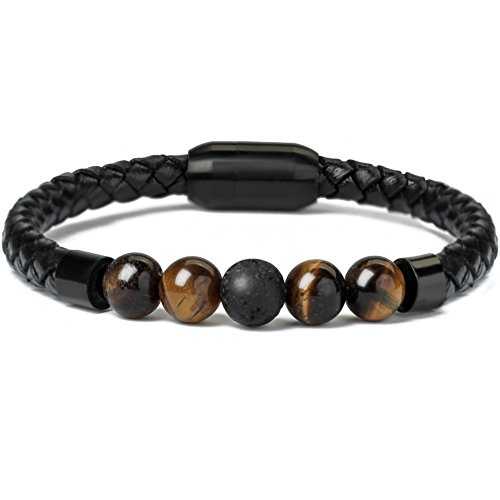 """Leather Beads Bracelet Magnetic Clasp with Genuine Black Lava Stone Essential Oil Diffuser Best Gift for Men 8.5"""""""